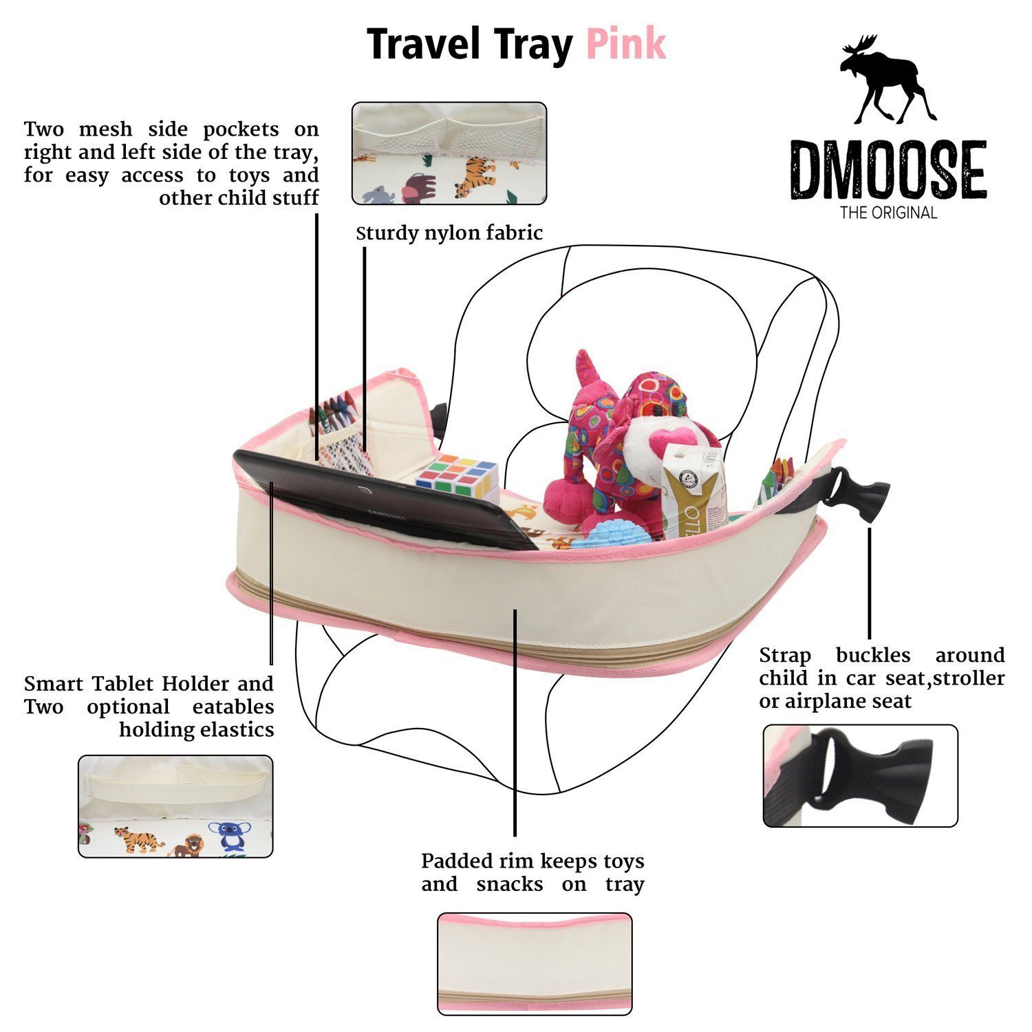 Toddler Car Seat Travel Tray by DMoose 16Inchby13Inch â