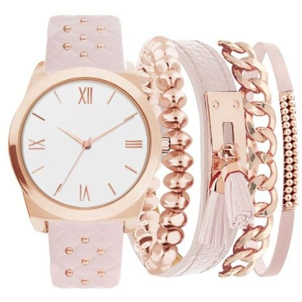 American Exchange  Women's Studded Strap Watch And Bracelet Set (€21) ❤ liked on Polyvore featuring jewelry, watches, bracelets, pink, accessories, pink jewelry and studded jewelry