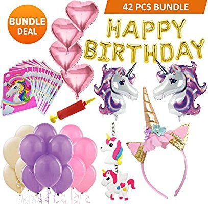 Unicorn Party Supplies 42 Pcs for Birthday Decorations,Birthday party favor...