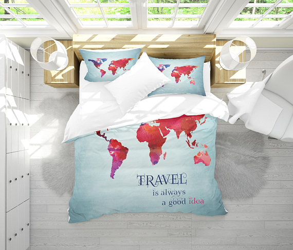 World map bedding watercolor map duvet cover set travel map world map bedding watercolor map duvet cover set travel map bedding inspirational quote bedroom comforter decor twin full queen king gumiabroncs Choice Image