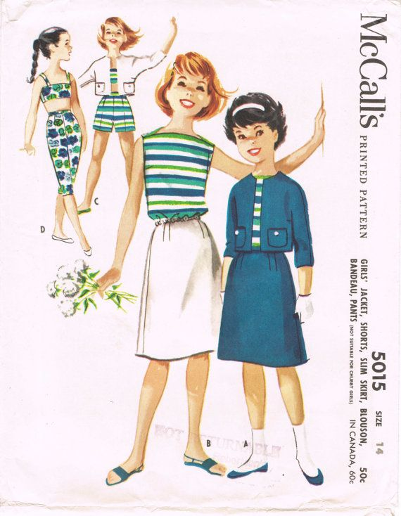McCalls 5015 Sewing Pattern 1950s Vintage Girls\' Jacket Pattern ...