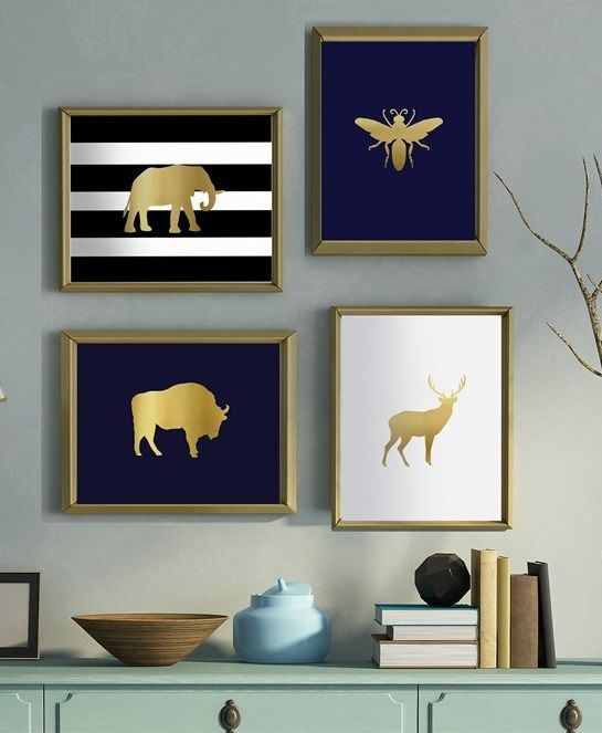 Black White Gold Bedroom Wall Decor Ideas For Bedroom Pinterest Bedroom Colors For Walls Bedroom Paint Ideas India: Trendy Gold Foil With Black And White Prints