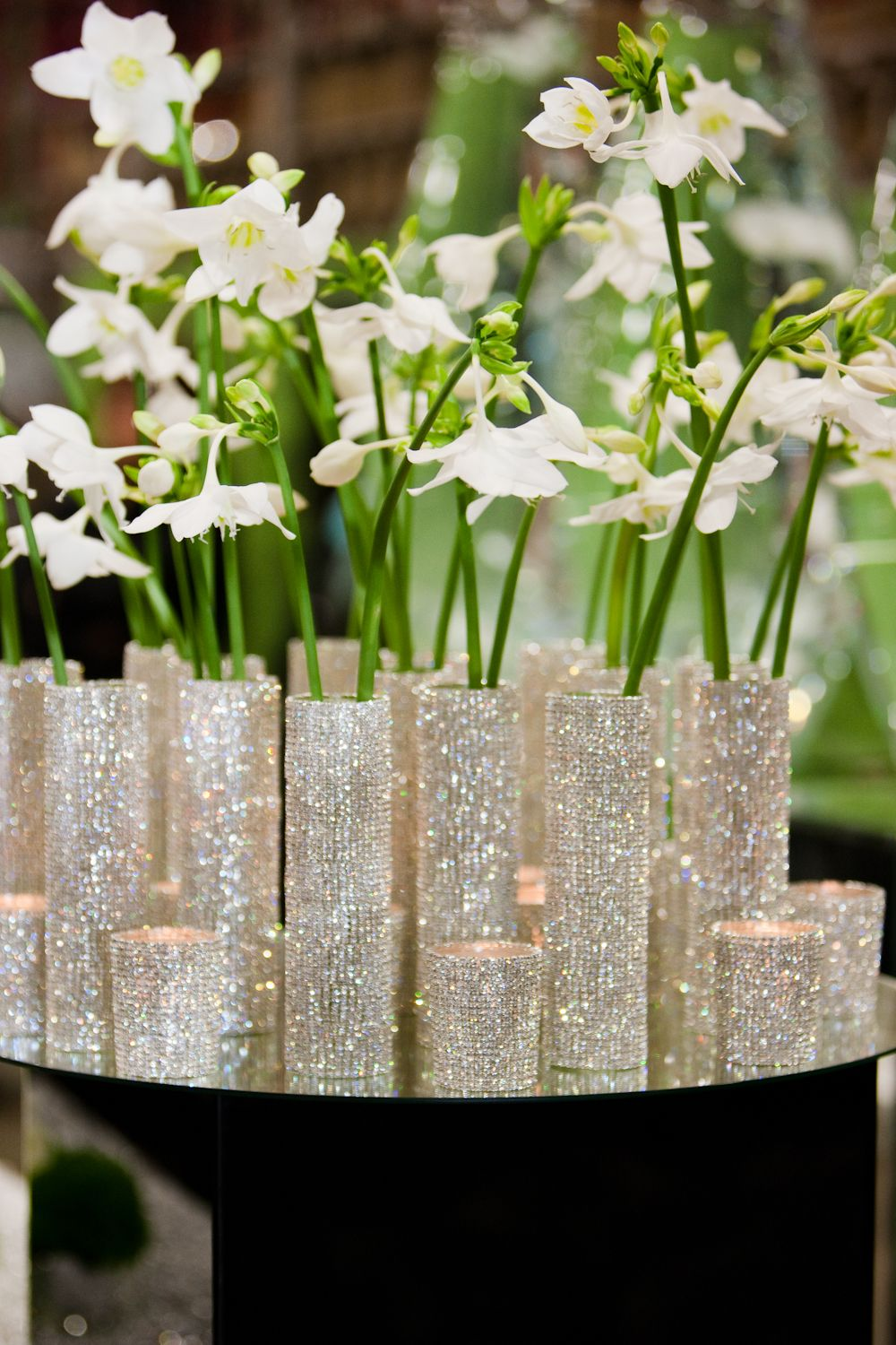 christmas centerpiece with white flowers in sparkling small slim  - christmas centerpiece with white flowers in sparkling small slim vases toadd sparkle at new covent