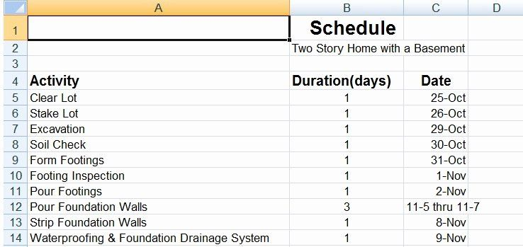 Residential Construction Schedule Template Inspirational Sample Residential Construction Schedule Printable Schedule Template Schedule Templates Templates