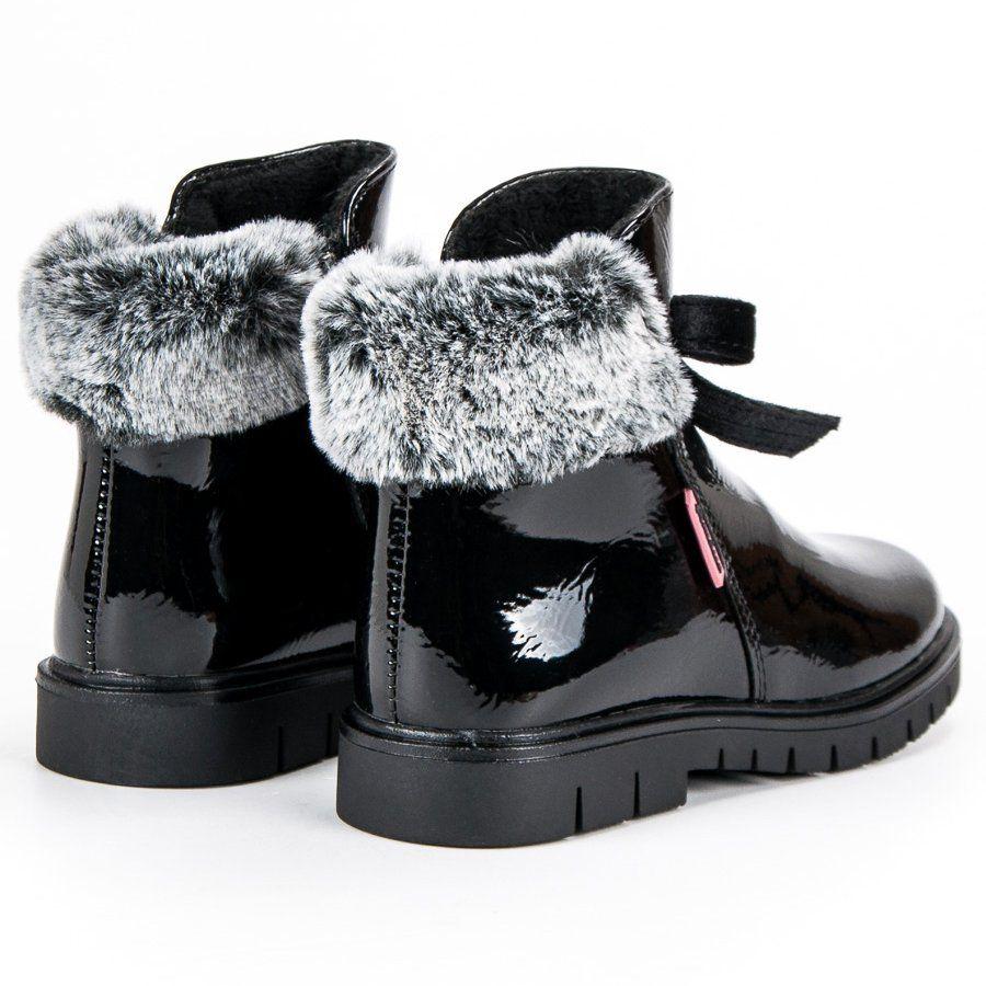 Kozaki Dla Dzieci Americanclub American Club Czarne Lakierowane Botki American Boots Ugg Boots Winter Boot