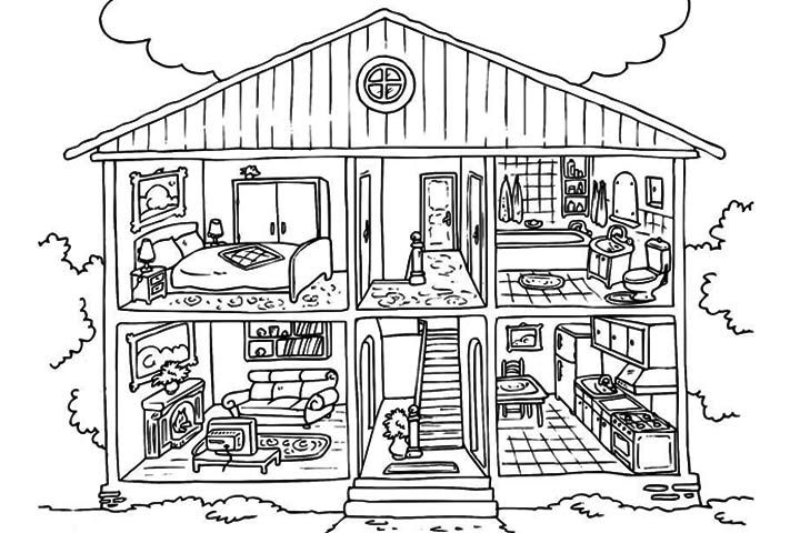 Doll House Coloring Pages With Images House Colouring Pages