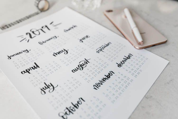2019 Calendars – Free Printable 4 Styles Free Printables