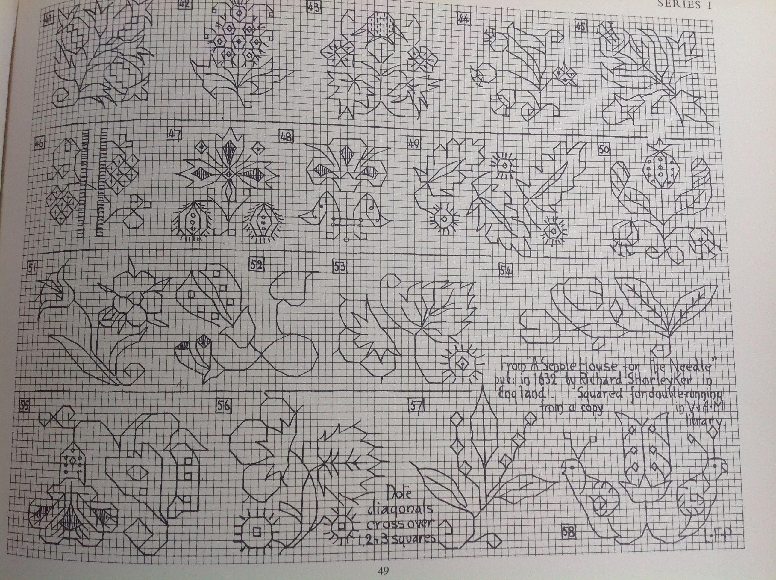 V and a chartuseful th century motifs blackwork schemi