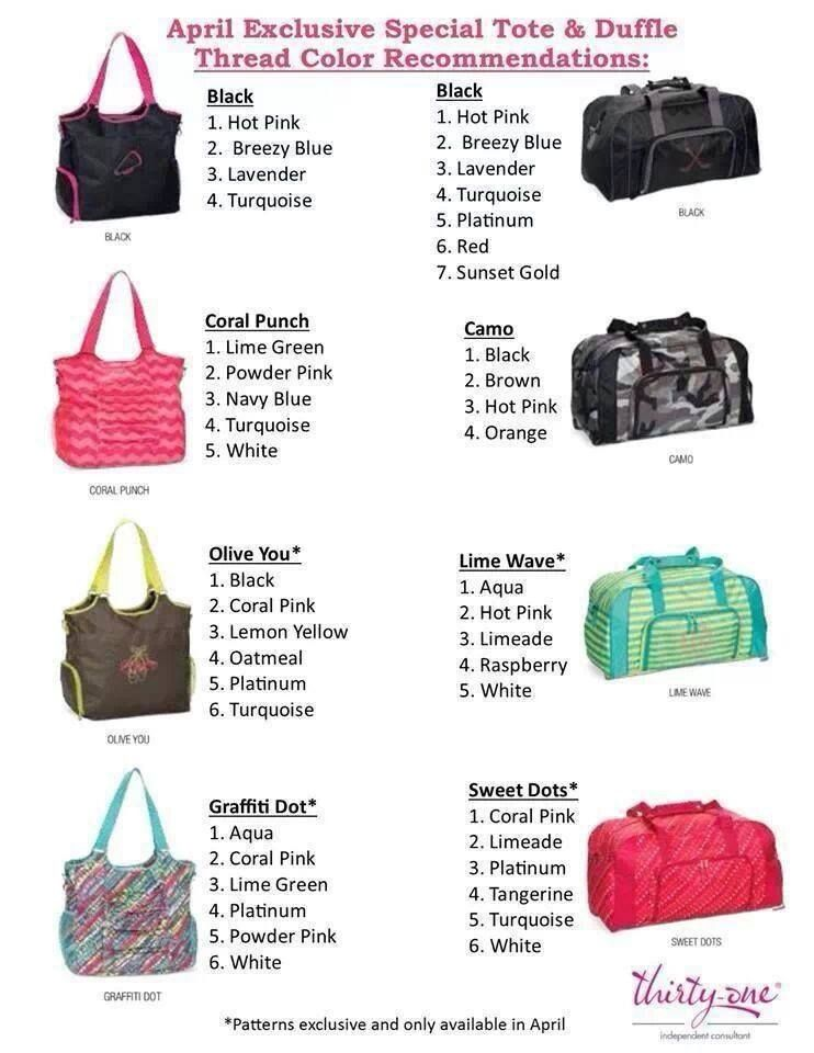 7066d3647276 Thirty-One s April Special includes the All-Pro Tote or the Pro Duffle!  Here are suggestions of embroidery colors to complete the look ...
