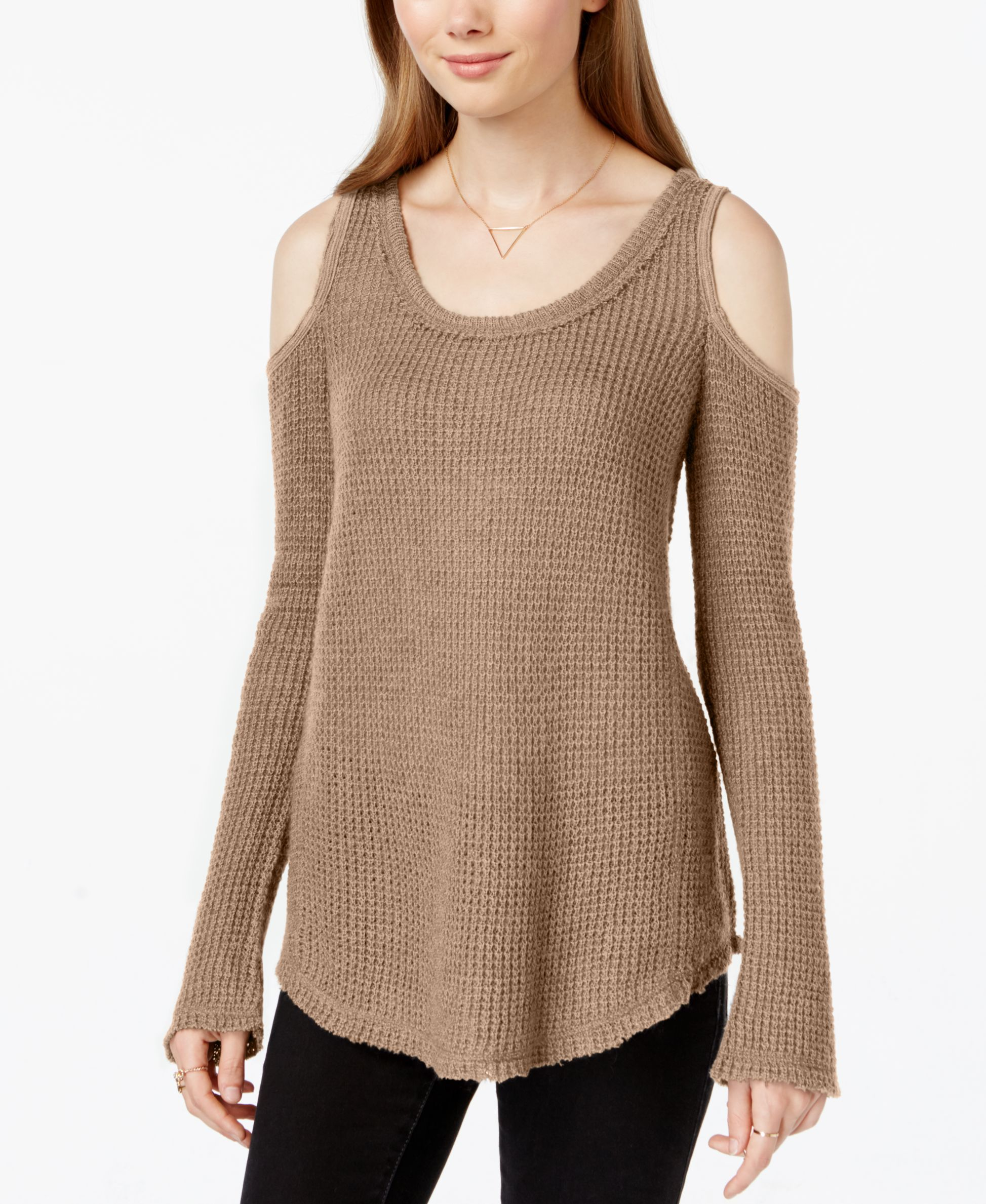7f3bc77a6a14d2 American Rag Waffle-Knit Cold-Shoulder Sweater
