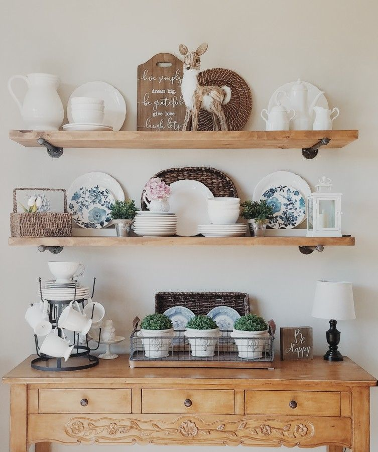 these diy farmhouse open shelves are great for changing out kitchen decor for christmas spring on farmhouse kitchen open shelves id=11664