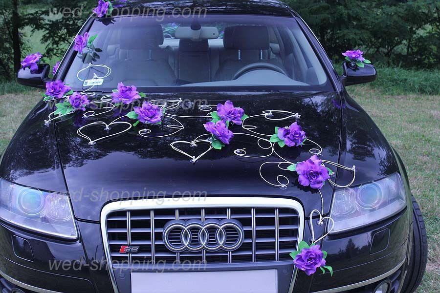 Kunniamerkki hääauto violetti-sininen koiranputkea
