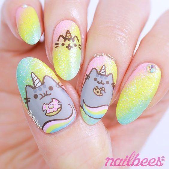 Que kawai!!   Amazing nail art   Pinterest   Pusheen, Manicure and ...
