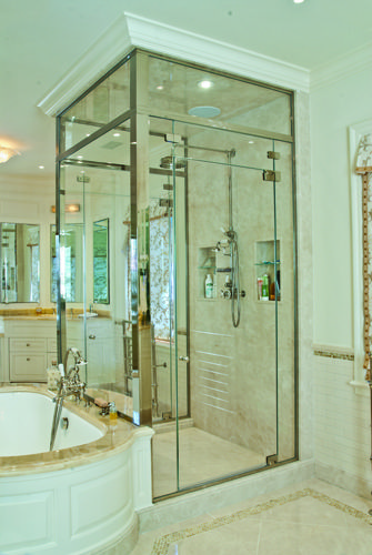Combination of majestic series frameless door panel with regal majestic series shower door enclosures by glasscrafters inc contemporary bathroom planetlyrics Image collections