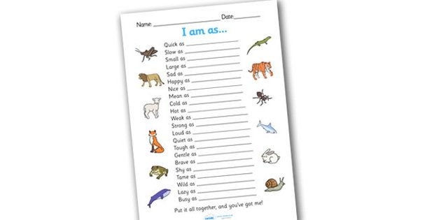 Simile Worksheet similies simile similies worksheet quick as – Simile Worksheet