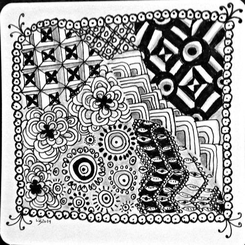 Doodling (tangling) helps boost brain power. Take part in weekly Zentangle challenges. #zentangle