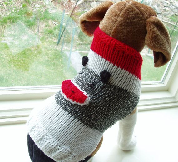 Dog Sweater Hand Knit Sock Monkey Medium 14 Inches Long Pet