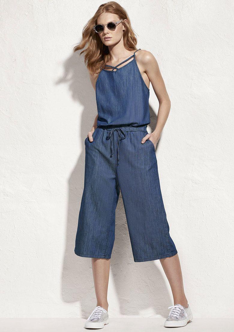 53ebea973 Macacão Jeans Feminino Pantacourt Em Algodão Hering | More Clothes ...
