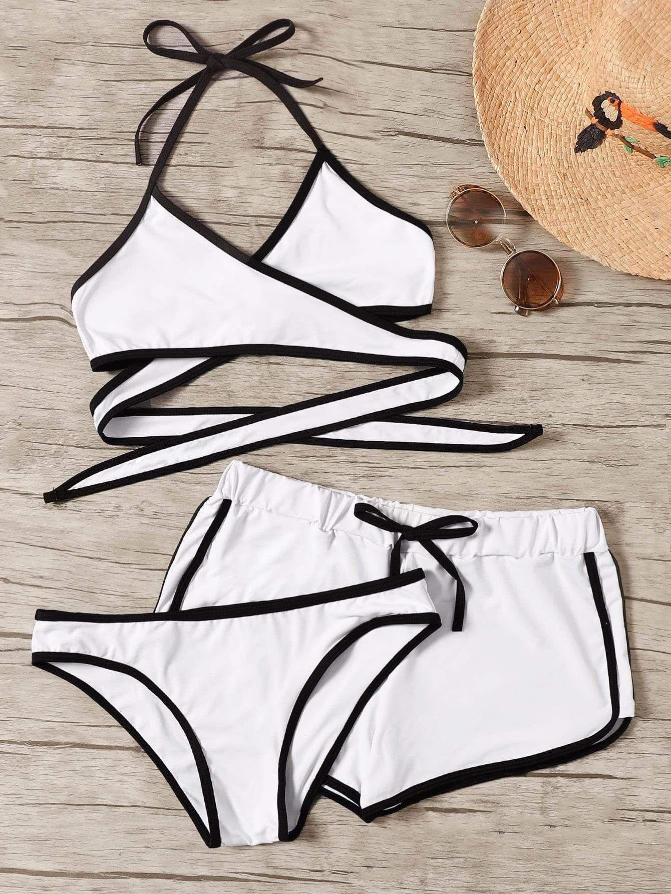 adae963800d1 Contrast Piping Wrap Halter Bikini Set 3pack - Popviva #swimwear  #sportswear #monokini #