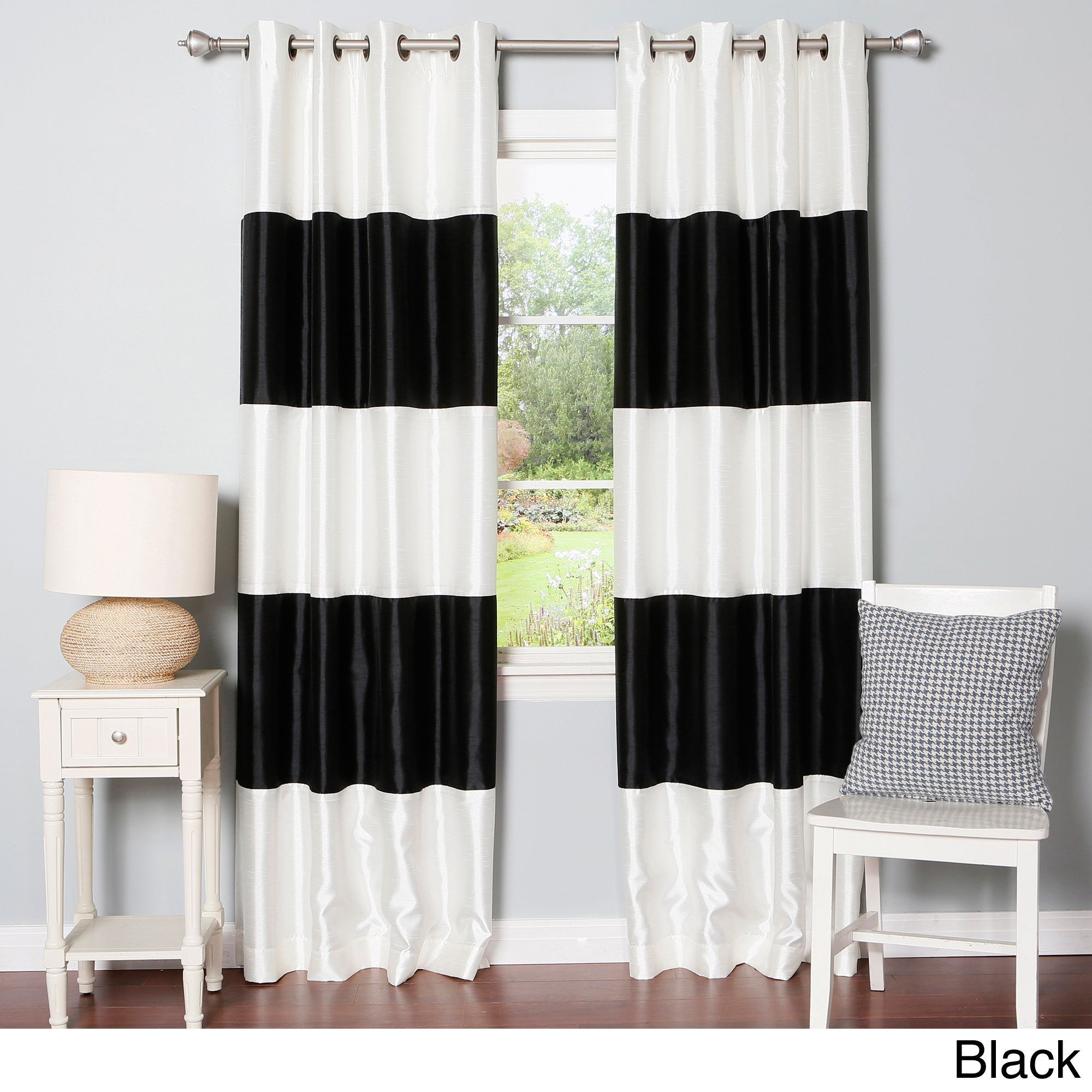 Curtain pair overstock shopping great deals on lights out curtains - Aurora Home Striped Dupioni Grommet Top Blackout Curtain Panel Pair By Aurora Home