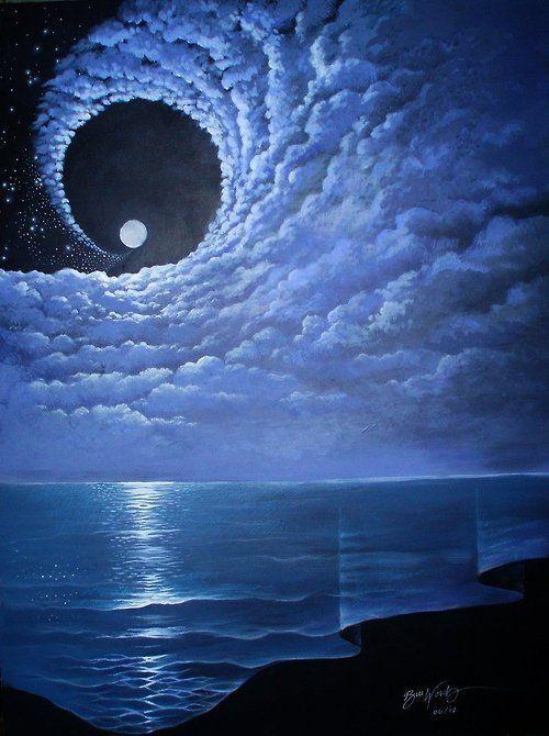 Art Painting Sky Landscape Full Moon Dream Moon Night Traditional Art Clouds Beach Ocean Sea Moonlight Surrealism Sur Beautiful Moon Fantasy Landscape Moon Art