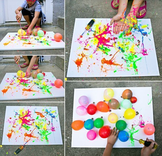 Hallo, Wonderful – BALLON-SPLATTER-MALEREI MIT WERKZEUGEN: SPASS-OUTDOOR-KUNSTPROJEKT … #toddlers