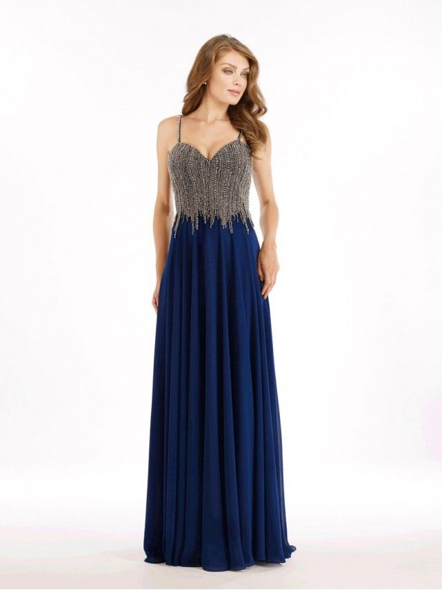 Beaded Long Blue Spaghetti Straps Mother of The Bride Dresses 99803037