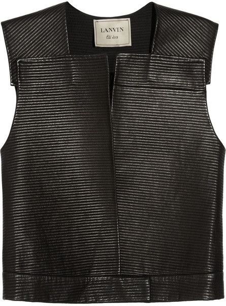 1ffffd3987 Handstitched Sleeveless Leather Jacket - Lyst from lanvin