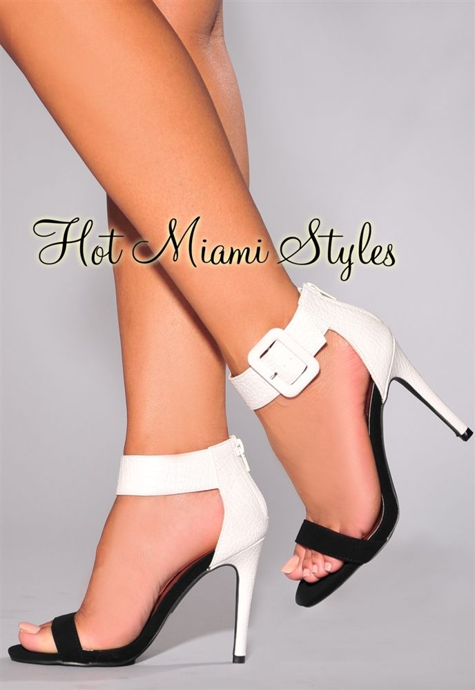 White Black Textured Ankle Cuff High Heel Sandals