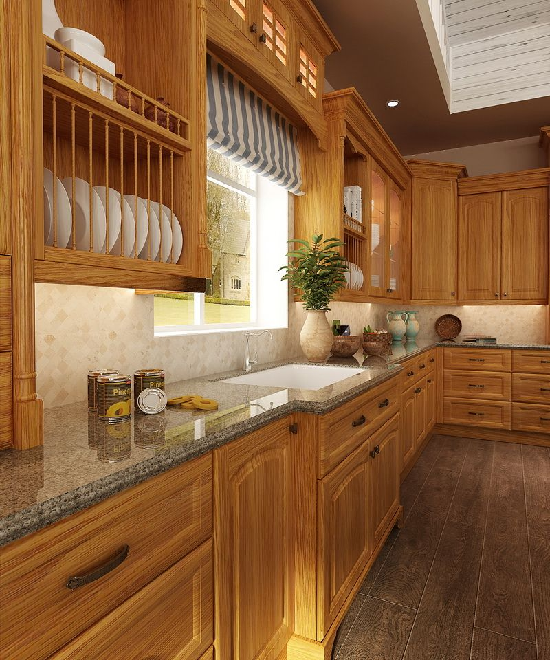 OP15-S11: Traditional Red Oak Wood Kitchen Cabinet ...