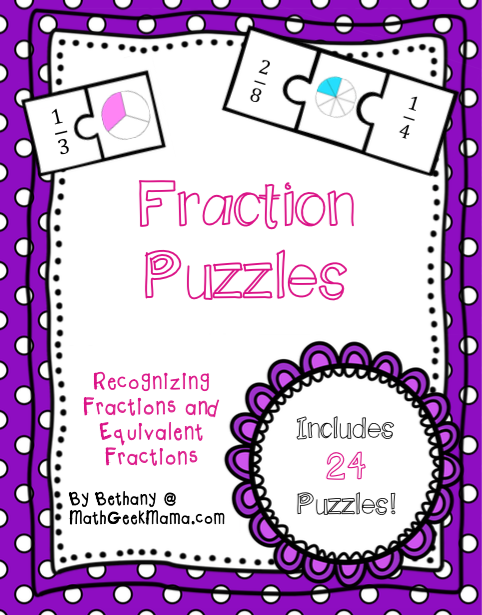 Fraction Math Puzzles {Printable | Equivalent fractions, Math and ...