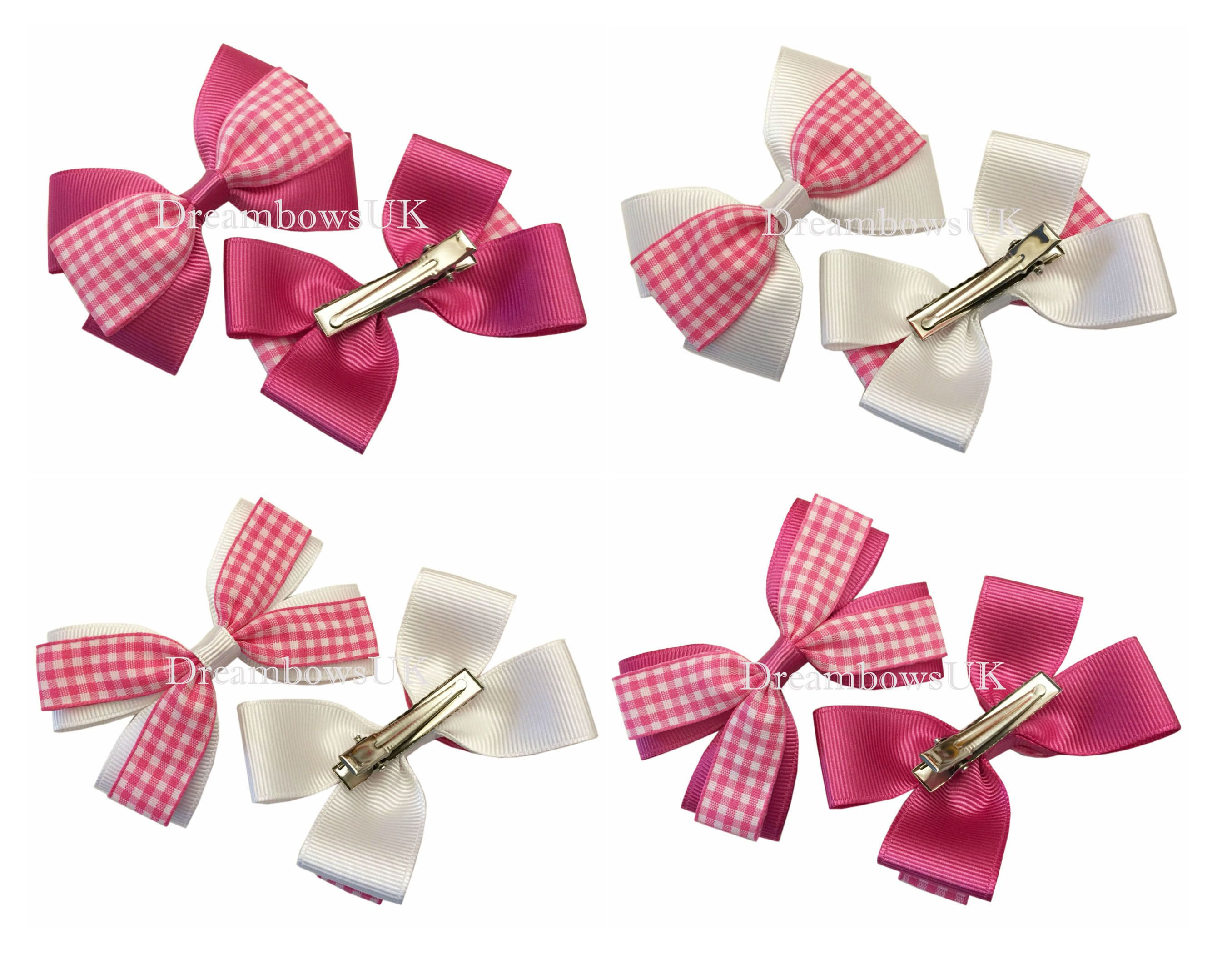 8633316e30621 Cerise pink and white gingham hair bows on alligator clips