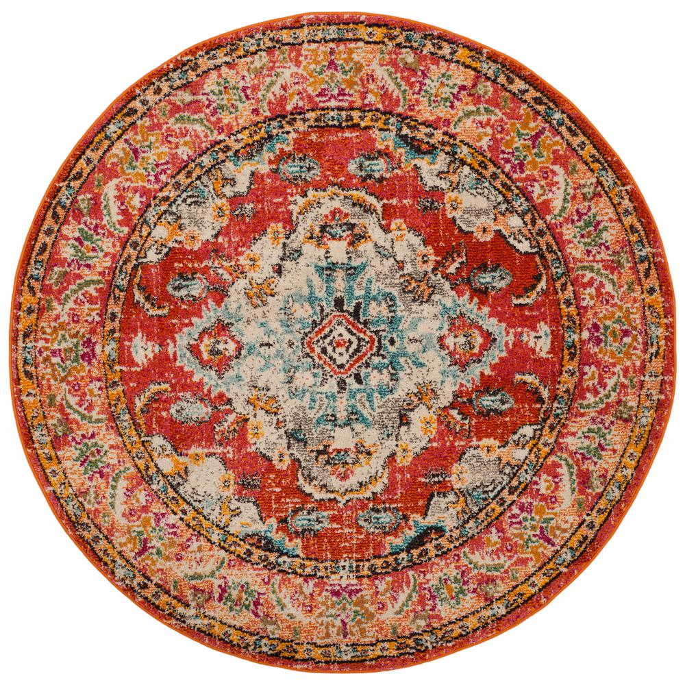Safavieh Monaco Orange Light Blue 7 Ft X 7 Ft Round Area Rug