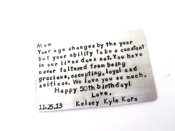 Mom Birthday Wallet Insert Keepsake