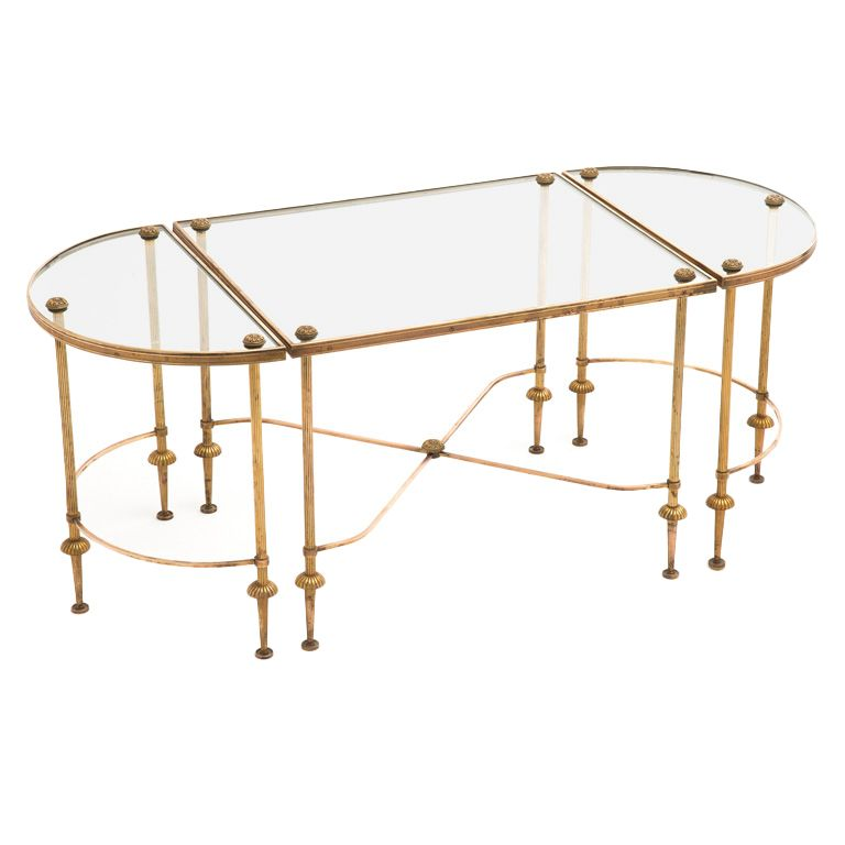 Maison Bagues Brass And Glass Coffee Table Set Coffee Table Setting Glass Coffee Table Brass Coffee Table