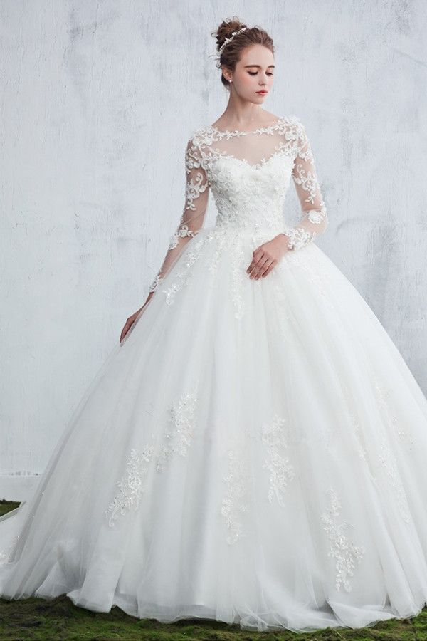 f5e73003f27 Scoop Neck Beaded Appliques Ball Gown Wedding Dress With Sleeves ...
