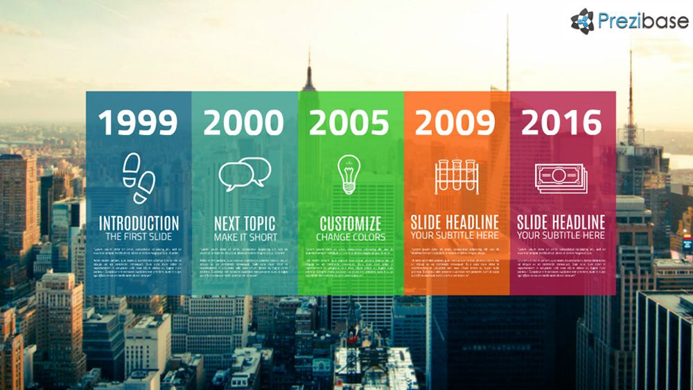 Colorful City Background Professional Timeline Prezi Presentation