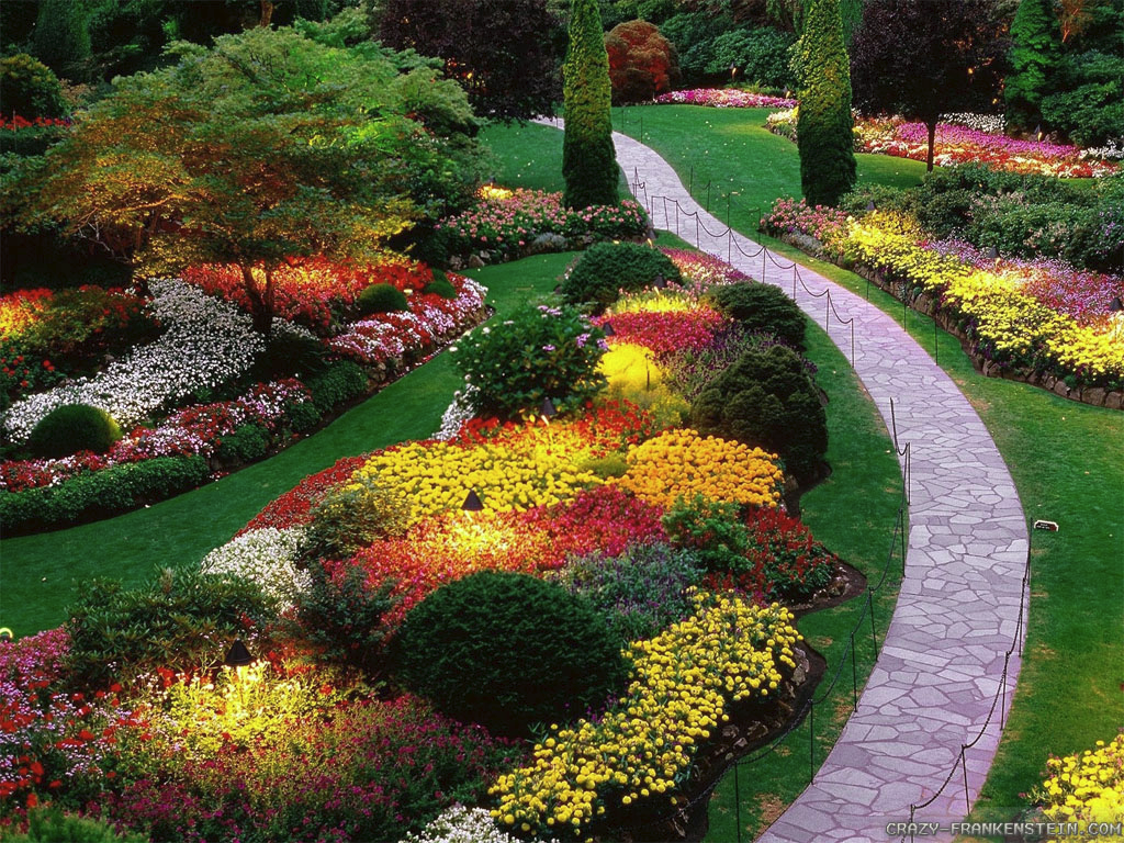A beautiful garden, complete with a winding path, perfectly manicured lawn  and nice pops