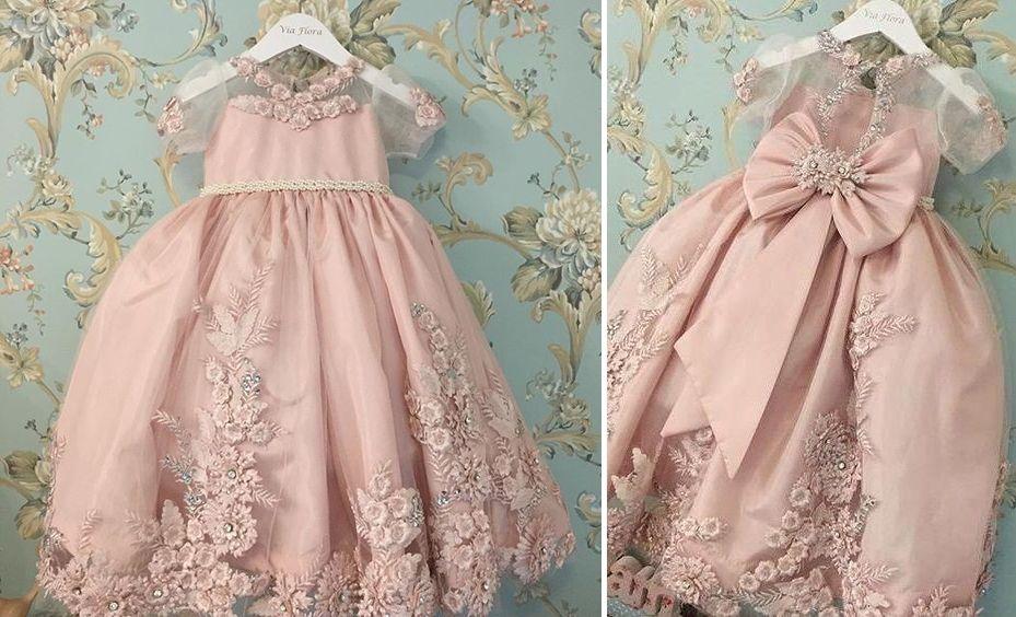 Vestido de fiesta rosa pálido con bordado | kids dress | Pinterest