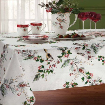 Amazon Com Lenox Winter Song 70 Inch Round Tablecloth Off White Home Kitchen Christmas Table Cloth Table Cloth 70 Inch Round Tablecloth