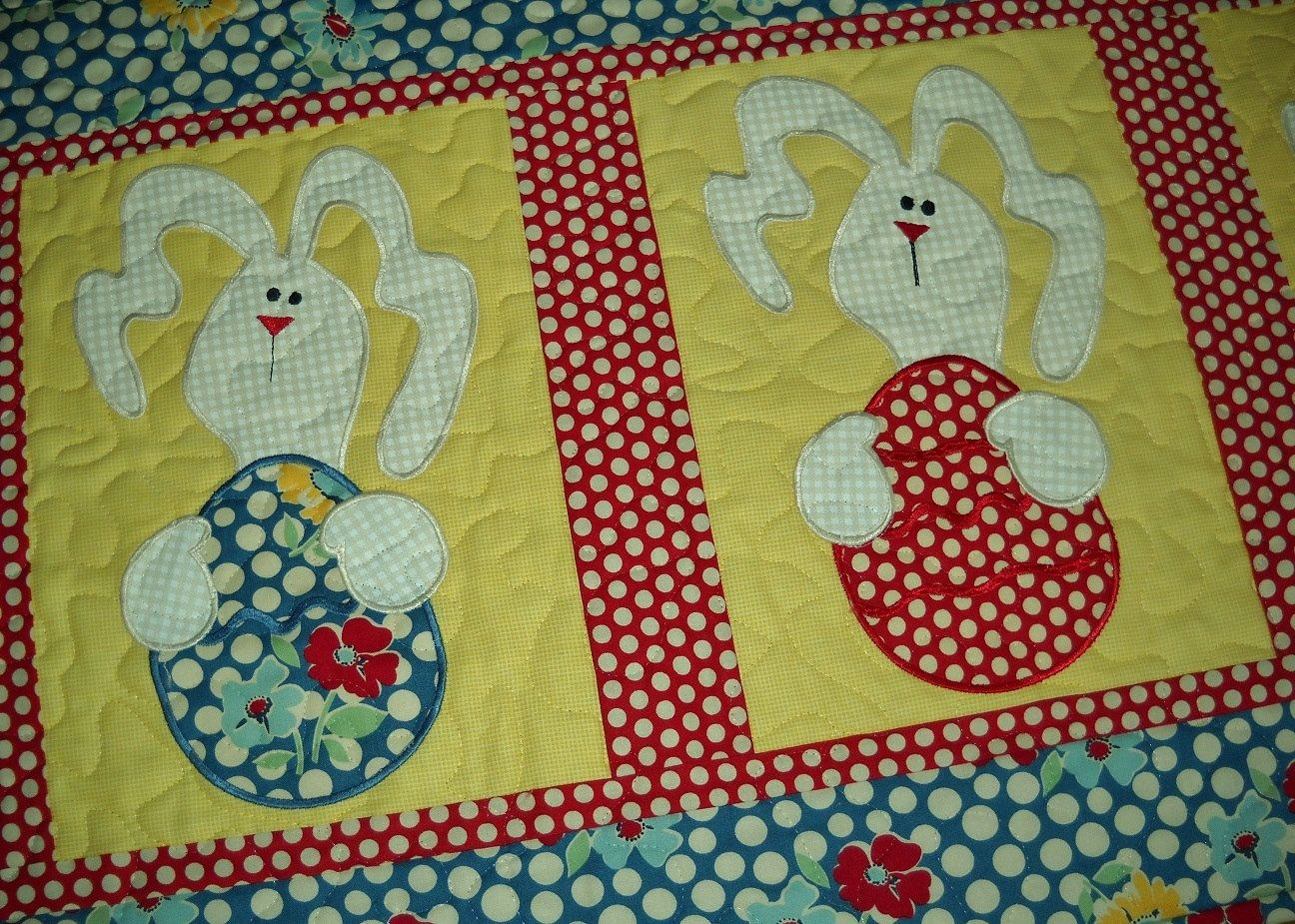 Easter Quilted Table Runner. . . A Little Bit Of Country With Applique  Bunnies Holding