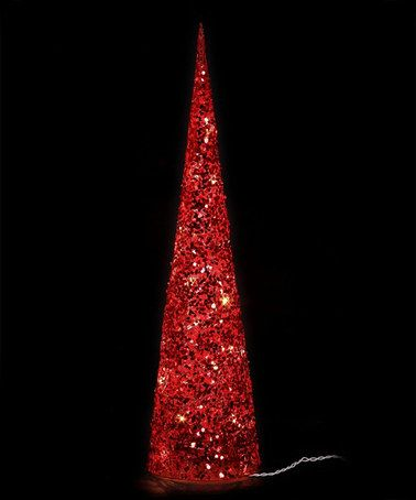 Attractive Red Glitter Cone LED Christmas Tree   Set Of Three