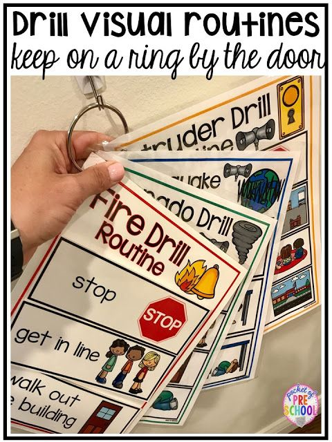 Photo of Emergency Drills Visual Routine Posters & Supports (Fire Drill, Earthquake, Tornado, & Intruder Drills) – Pocket of Preschool