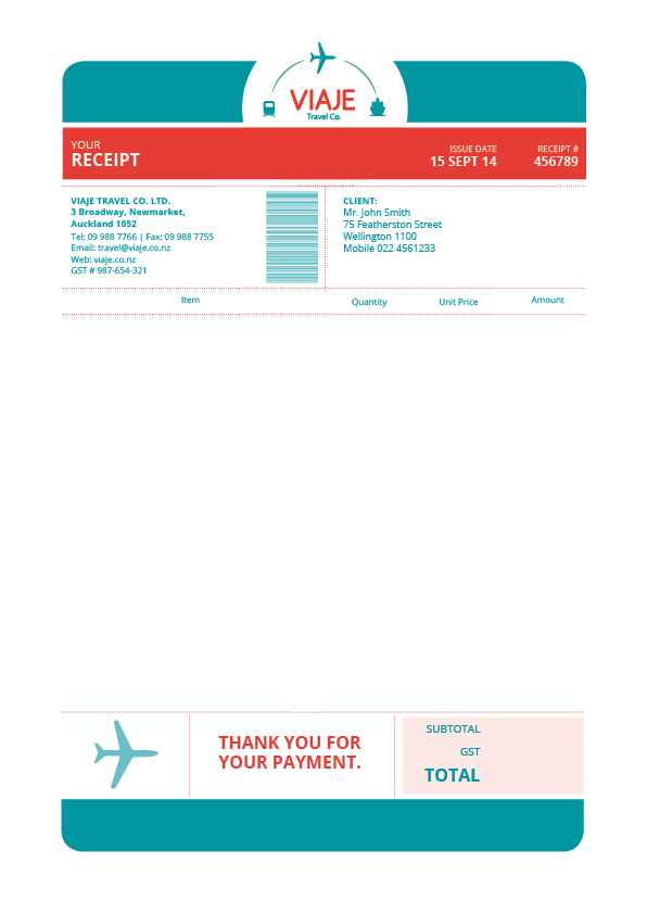 Viaje Travel Co Invoice By Andrea Aragon  Invoices