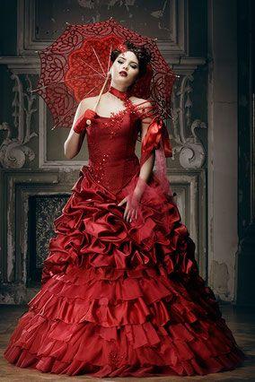 Rotes Brautkleid, ausgefallene Hochzeitskleider | Gothic Sty ...