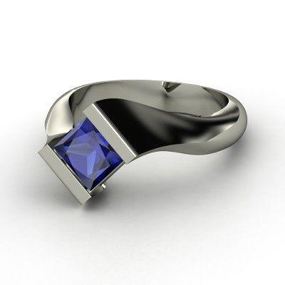 Princess Blue Sapphire Platinum Ring  | Modern Embrace Ring | Gemvara
