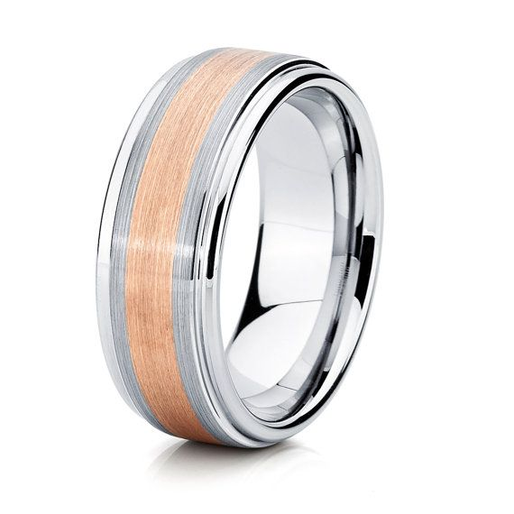 Two Tone Rose Gold Tungsten Mens Wedding BandTungsten Wedding Band