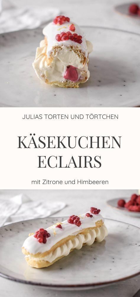 Käsekuchen Eclairs mit Himbeer und Zitrone + super Eclair Glasur