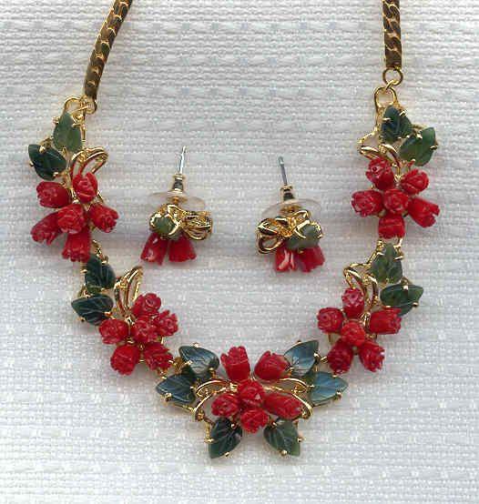 Pink Coral jewelery jade leaf rose coral red coral jewelry