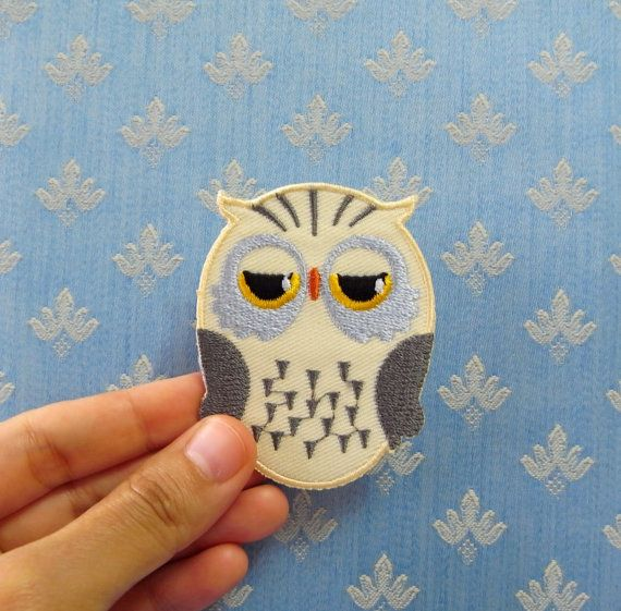 Owl Patch/Iron on Patch Owl/ Cream by CraftRoomStorage on Etsy